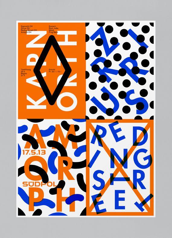 Le designer graphique Felix Pfäffli aka Feixen réalise depuis 2011 cette série d'affiche pour le compte de Suedpol, un centre culturel polyvalent à Kriens, en Suisse, près de Lucerne, qui abr…