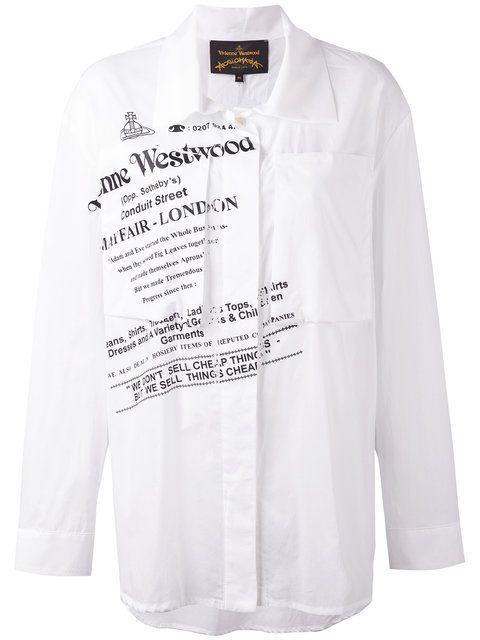 Shop Vivienne Westwood Anglomania  text print shirt.