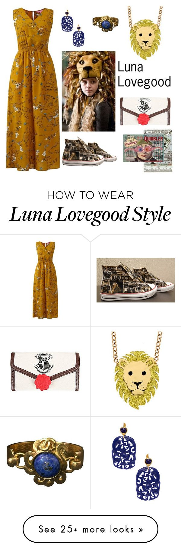 """""""Luna Lovegood"""" by fabulous-monsters on Polyvore featuring Converse, Warner Bros., Chanel, Kenneth Jay Lane, harrypotter and lunalovegood"""