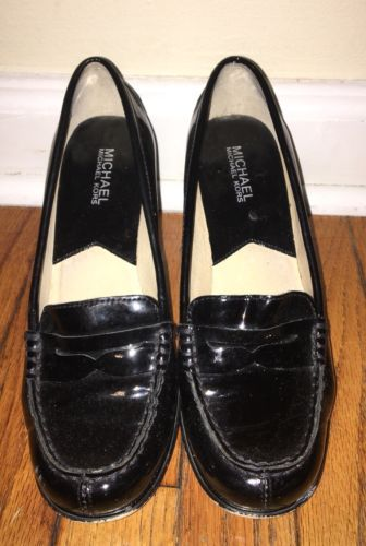 fa603bc571d2 MICHAEL KORS women s Bayville Penny Loafer Pumps Patent Leather SHOES Black  7.5