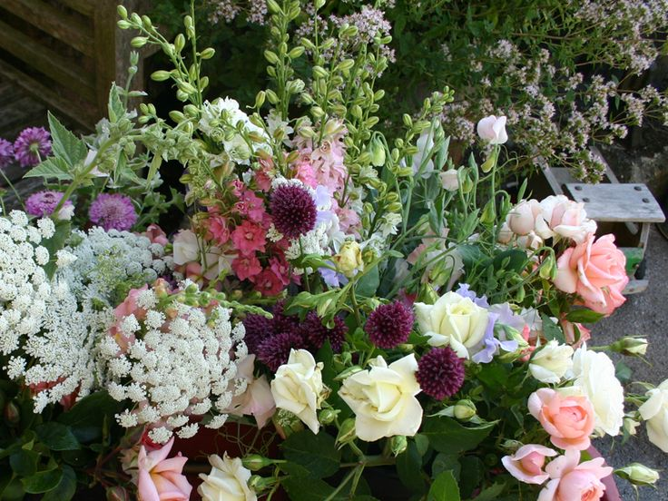 freshly picked from the gardens ready for arranging buckets of seasonal english country flowers for - Common Flowers In Arrangements