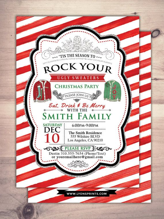 Ugly Sweater Party Christmas Holiday Invitation Holidays Cookie Exchange Invite Santa