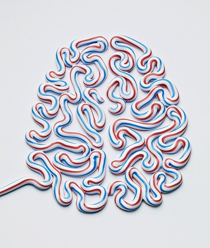 Brains Made of Toothpaste, Newspaper and Food by Kyle Bean illustration food brains anatomy