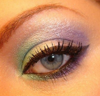 Set off pearly eye shadow with black eye liner and mascara. They help frame your eyes and give you a dreamy shadow.