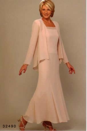 Mom of the Bride - A little more updated mother-of-the-bride look with long dress and jacket