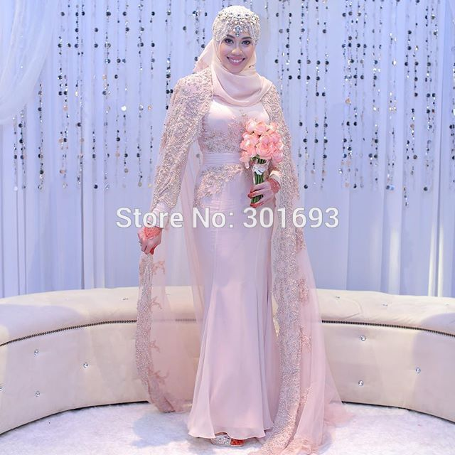 Aliexpress.com : Buy Oumeiya OW524 French Lace Appliques Beaded Pink Chiffon Mermaid High Neck Long Sleeve Hijab New Design Muslim Wedding Gown 2016 from Reliable gown silk suppliers on Oumeiya Wedding Dress Factory  | Alibaba Group