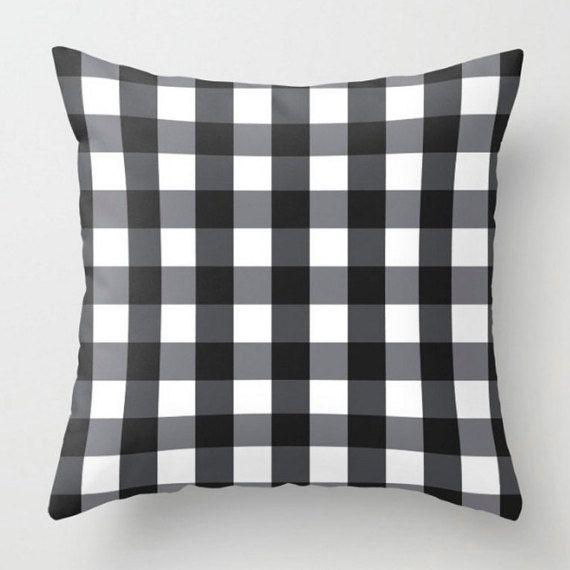 Black Buffalo Check Cushion Plaid Pillow Checkered Cushion