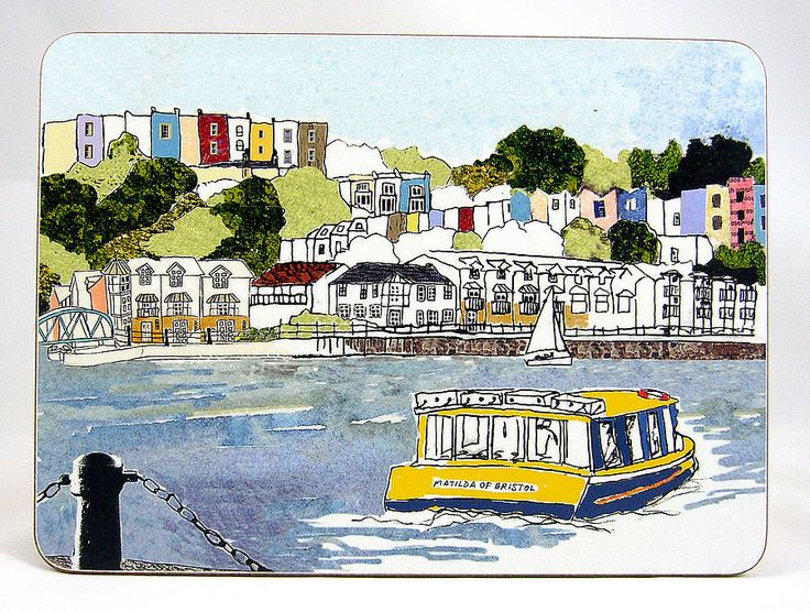 bristol harbourside view placemat by emmeline simpson | notonthehighstreet.com