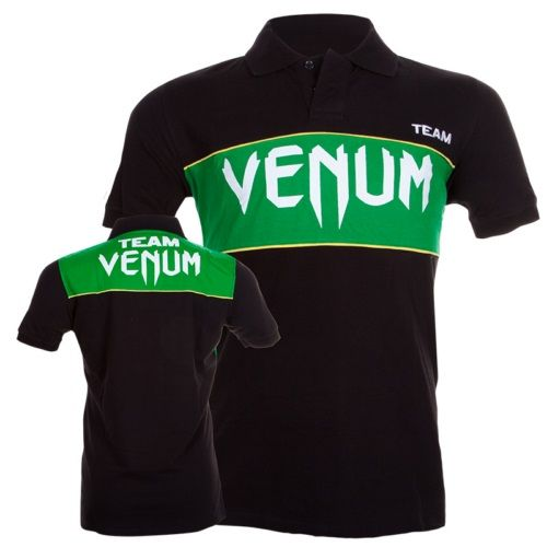 Polo VENUM TEAM - BLACK/GREEN  Questa Polo VENUM di colore nero a maniche corte traspirante è realizzata in cotone resistente e  confortevole.