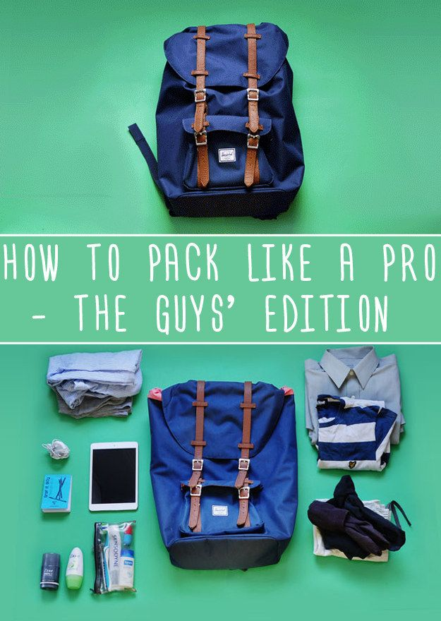 How To Pack Like A Pro For Every Occasion: The Guys' Edition - so apparently this is the guys' edition, but to be honest it's much more the sort of thing I'd pack (the women's one seems to think an eyemask is essential?  And has no suggestions at all for long-term travel) - silly gender roles.
