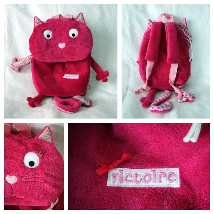 Ce modèle de petit sac à dos chat a vraiment du succès !!! Et heureusement, je ne me lasse pas de le coudre ;-) Aujourd'hui, assortiment de pois et de libe