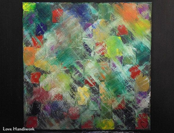 Multi-Colour Abstract Square Painting 12x12 by LoveHandyWork