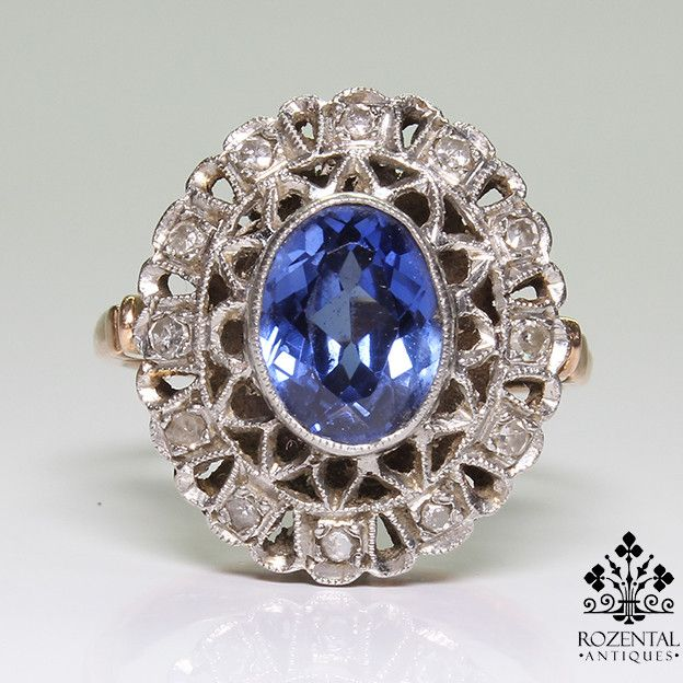 Antique Edwardian 18k Gold Diamond & 1.2ct. Sapphire Ring