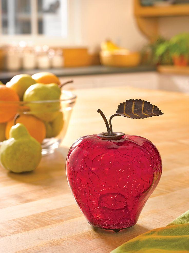 Fruit Fly Trap - Appled Shaped, Crackle Glass   Gardener's Supply