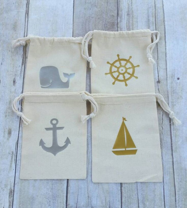Birthday Party Favor Bags, Nautical, Anchor, Boat, Whale, Wheel, Cotton Muslin Bags, Drawstring, 5x7, Glitter Bags, Set of 4, Persoanlized by TittleBits on Etsy