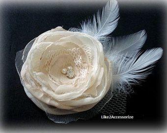 Ivoren bruiloft Flower Hair Clip bruids haaraccessoires bruiloft haaraccessoires, Hair Fascinator bruiloft zendspoel bruids haar bloem van het huwelijk