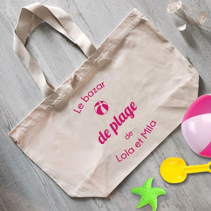 """Tote Bag CABAS 100% Coton BIO - """"Le bazar de plage"""""""