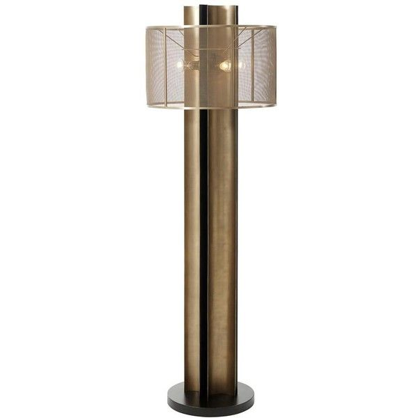Sienna Industrial Loft Brass Meshed Shade Bronze Floor Lamp ❤ liked on Polyvore featuring home, lighting, floor lamps, brass lamp, industrial lighting, polished brass lighting, solid brass floor lamp and industrial lamp