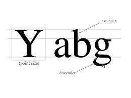 Ascenders and Descenders- Ascenders are anything in the typeface that are above the x height. And so descenders are anything in the typeface that are below the x height.