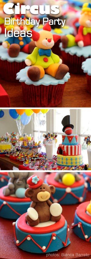 Awesome Circus Theme Birthday Party! I love all the cupcake toppers and the color palette!