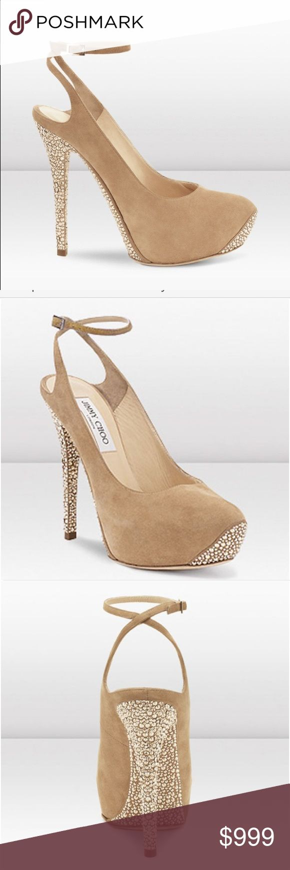 Jimmy Choo Tame Camel Suede Platforms Pumps Jimmy Choo Tame Camel Suede Platforms Pumps With Swarovski Crystal. Jimmy Choo consistently offers must-have heels for the glamorous woman. This label has grown into the glossiest of shoes and accessories brands.This shoe is as pretty on bottom as it is on top! Jimmy Choo's Suede Crystal-Coated Ankle Strap Platform Pumps  are new for fall. For a touch of Hollywood glamour, try this suede platform silhouette.size 39 but run small (fit for 8) used…