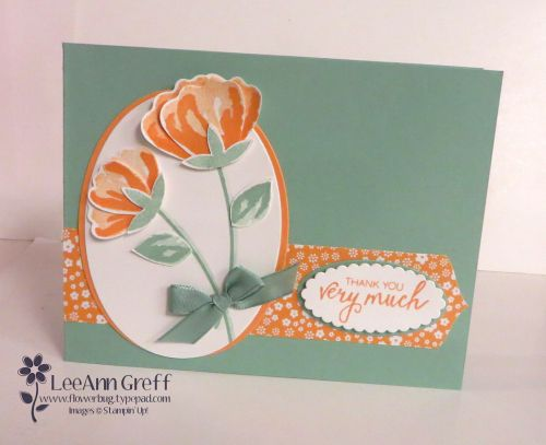 I made a pretty card for a recent Flowerbug's Team swap using this stamp set and punch.   I had a feeling I would like this stamp set & punch bundle since I love coordinating products like this. But a