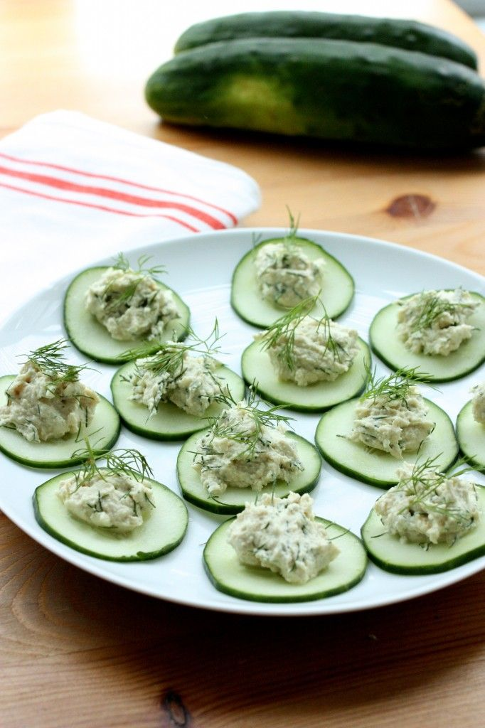 Cucumber Rounds with Raw Herbed Dill Cashew Cheese.  You can also make this with Chicken Salad, Tuna Salad, Ham Salad.