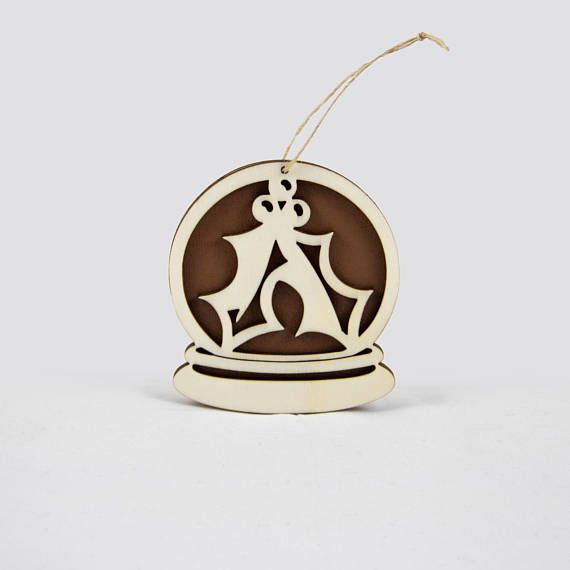 Wooden snow globe Christmas ornament with Christmas leaves