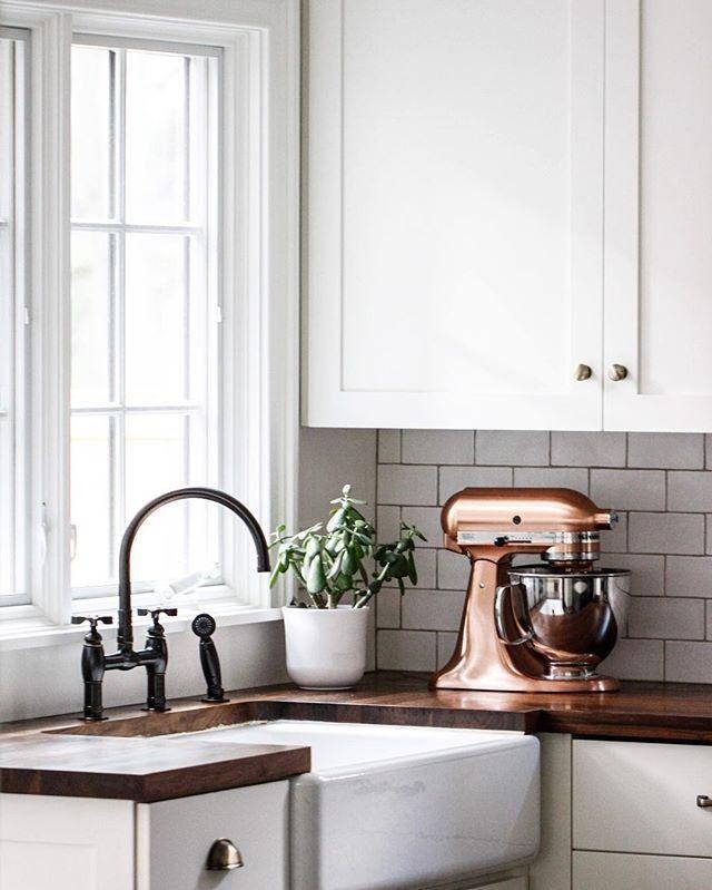Copper Kitchenaid in a white kitchen. Perfection.