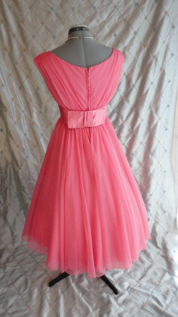 ON SALE 50s Prom Dress // Vintage 1950's Coral by ChiffonLounge