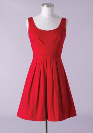 delias, sleeveless pleated dress.  very timeless and classic in red.