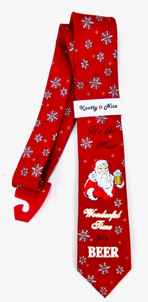 5f5299c1d7ae9f Knotty & Nice Mens Red Christmas Tie Santa Most Wonderful Time For a Beer  New #KnottyNice #Tie