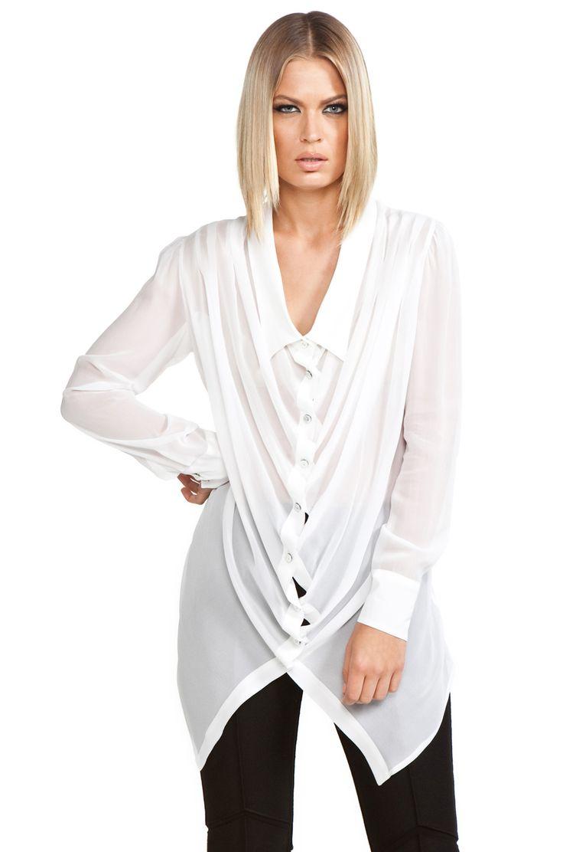 Viktor & Rolf Georgette Shirt in Optic White in White (optic white) | Lyst