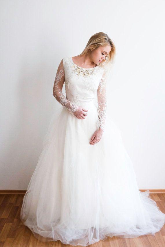 Long sleeve lace wedding dress etsy stock