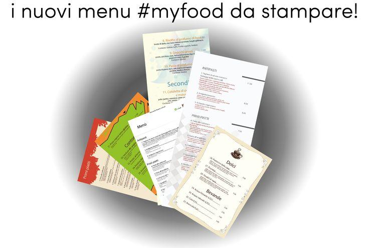 I nuovi template myfood da stampare per il tuo menù! http://myfood.okkam.it
