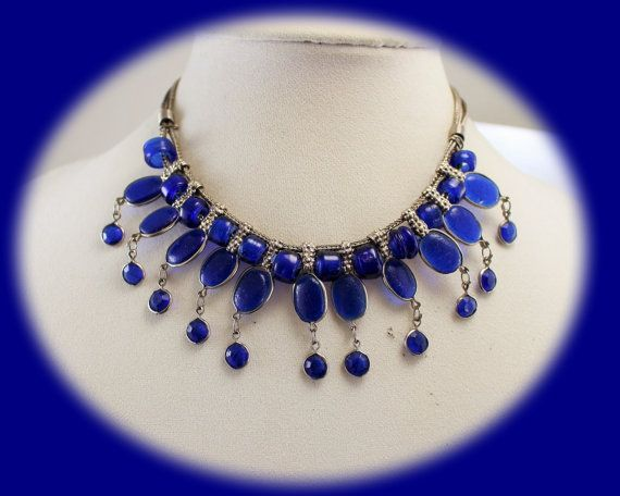 Vintage Choker/Necklace  Blue Faux and Silver Tone