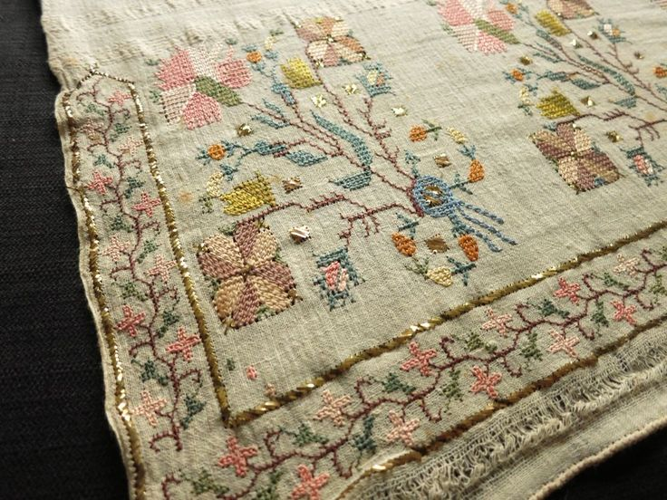 Antique OTTOMAN Turkish SILK EMBROIDERY TOWEL Yaglik METALLIC ACCENTS 19x50