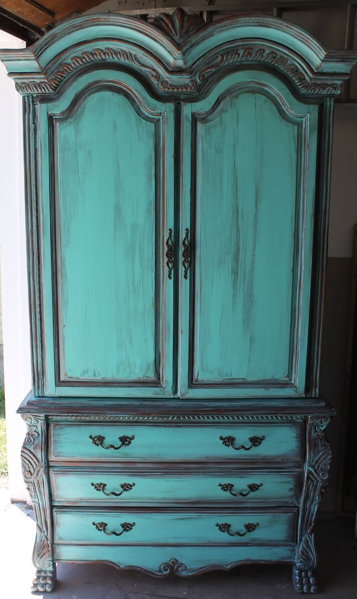 Aqua Turquoise French Armoire With Aged Copper Patina Accents