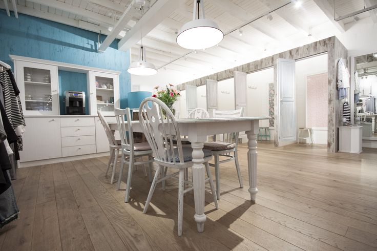 New woman shopping interior with pastel colors in brocante style