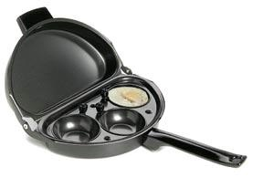 """Poacher & Omelette Pan  Product #: FR4498  Price: $27.98        Breakfast has never been easier! Multi-function pan is specially designed for flipping omelettes, and included poacher makes 3 eggs in a jiffy. Non-stick coating helps with the easy release of your poached eggs or omelette. Carbon steel. (11""""L x 9""""W x 1-1/2""""H (open)) http://katherinel.shopregal.ca"""