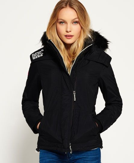 Shop Superdry Womens Hooded Fur Sherpa SD-Wind Attacker Jacket in Black/ecru.  Buy now with free delivery from the Official Superdry Store.
