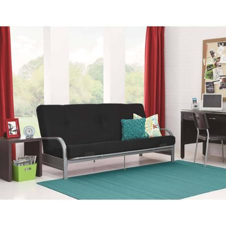 Medium image of mainstays silver metal arm futon frame with 6   mattress multiple colors