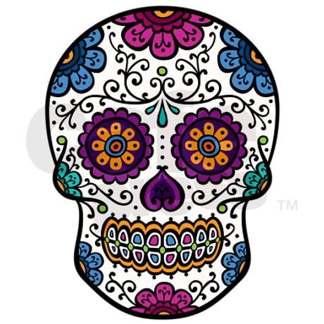 Calavera - traditional Latin American (Mexican) 'sugar skull' with colorful flowers and floral ornament - cool Day of the Dead (Dia de los Muertos) gear.