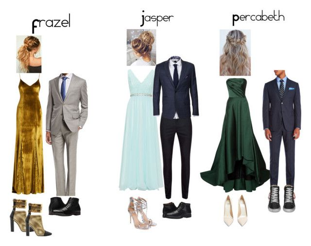 """Pjo Hoo The Seven Prom"" by izzwhizzicorn on Polyvore featuring Galvan, Mascara, Jason Wu, Topman, Ermenegildo Zegna, Armani Collezioni, Yves Saint Laurent, Rockport, Nunn Bush and Balmain"