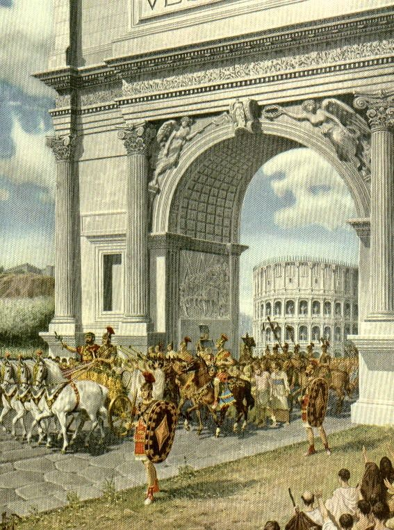Triumphal procession through the Arch of Titus in the Roman Forum, commemorating the sack of Jerusalem. A Triumph through the streets of Rome was one of the highest honors accorded to a Roman general.