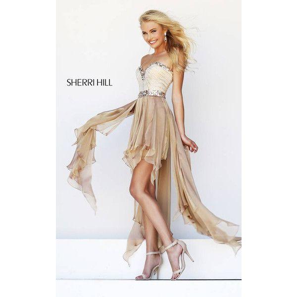 Sherri Hill 1920 Nude Long High Low Homecoming Dress ($175) via Polyvore featuring dresses, dip hem dress, high low dresses, sherri hill, hi low dress and short and long dresses