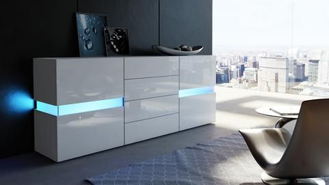 """Sideboard """"Flow"""" in White High Gloss"""