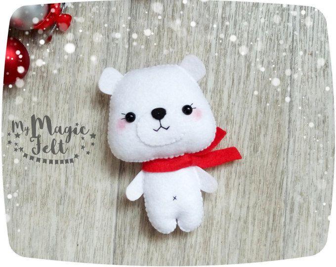 Adornos navideños fieltro Oso Polar ornamento regalos de Navidad para niños adornos de Navidad fieltro decoraciones de año nuevo de decoraciones