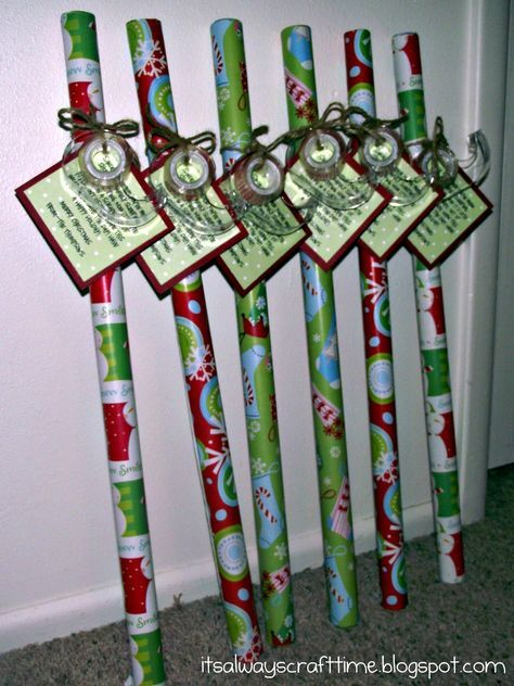 I received this gift from a student this year! Absolutely most practical gift ever! I then turned around and did the same gift for my sons teachers! They loved it! Cute neighbor gift idea! Its wrapping paper tape, and the tag reads Since November you've been shopping, barely sleeping, hardly stopping. Now its late, you're in a scrape, out of paper or out of tape. Hope this wrap helps save the day! Have a Happy Holiday!