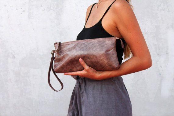 Purple leather clutch leather clutch leather purse evening